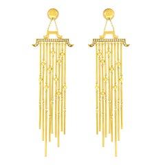Magnificent Shoulder Duster Diamond Set Gold Chandelier Earrings