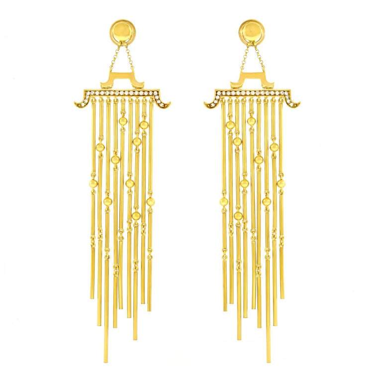 Magnificent Extra Long Diamond Set Gold Chandelier Earrings