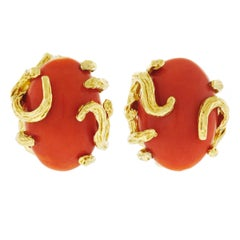 1960s Modernist Coral and Gold Earrings