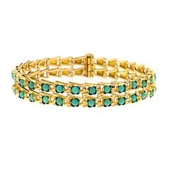 Art Deco Turquoise Set Gold Bracelet