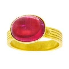Maija Neimanis Pink Tourmaline Cabochon High Karat Gold Ring
