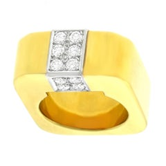 Weber & Cie Swiss Modern Diamond Set Gold Ring