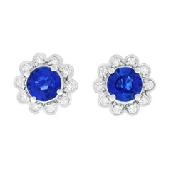 Sapphire and Diamond Set Gold Stud Earrings
