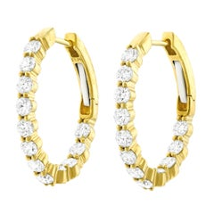 2 Carat Total Weight Diamond Set Yellow Gold Hoops