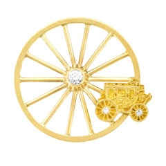 Tiffany & Co. Stagecoach Wheel Motif Gold Brooch