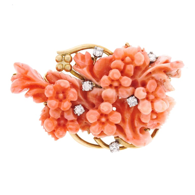 1950s Carved Coral Gold Brooch