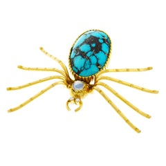 Turquoise and Moonstone Spider Brooch
