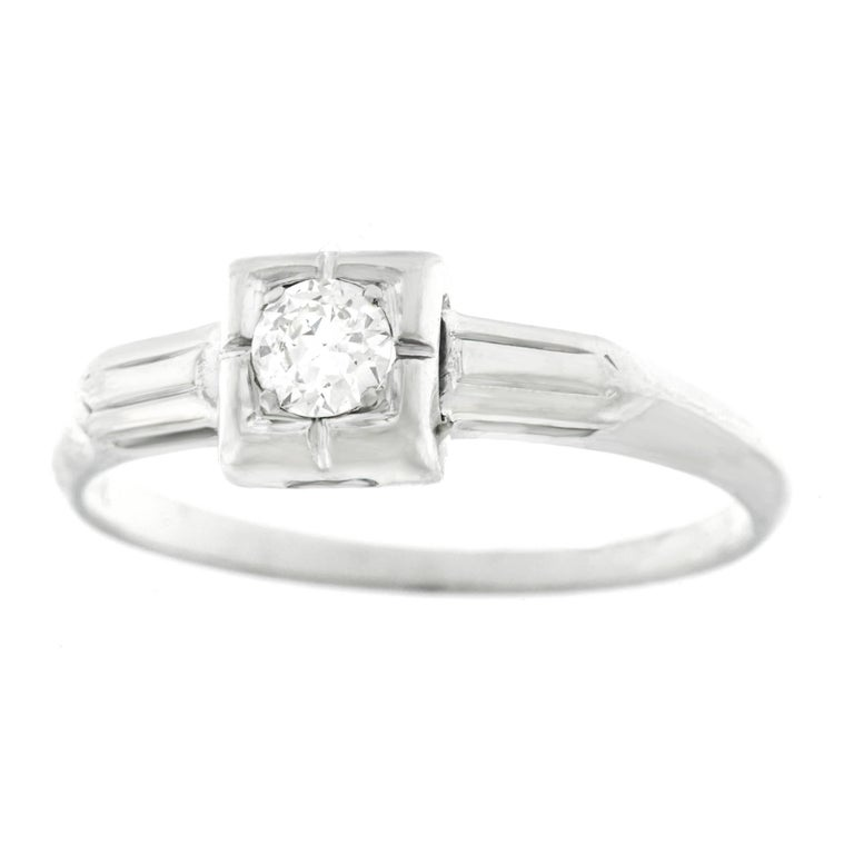 Art Deco Diamond Set Gold Engagement Ring