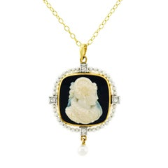 Gothic Cameo and Seed Pearl Gold Pendant