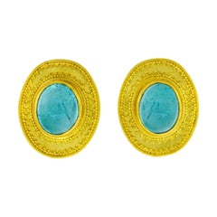 Maija Neimanis Tourmaline Cabochon Set Gold Earrings