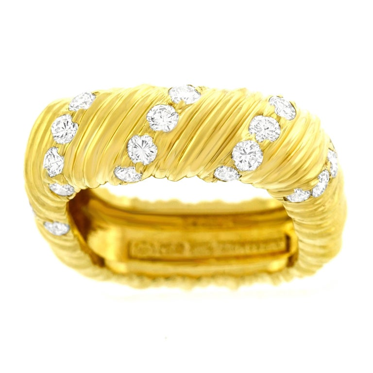 Weber & Cie Modernist Diamond Set Gold Ring