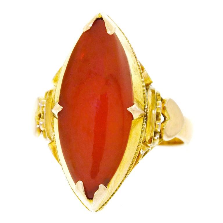 Peranakan Carnelian Set Gold Ring