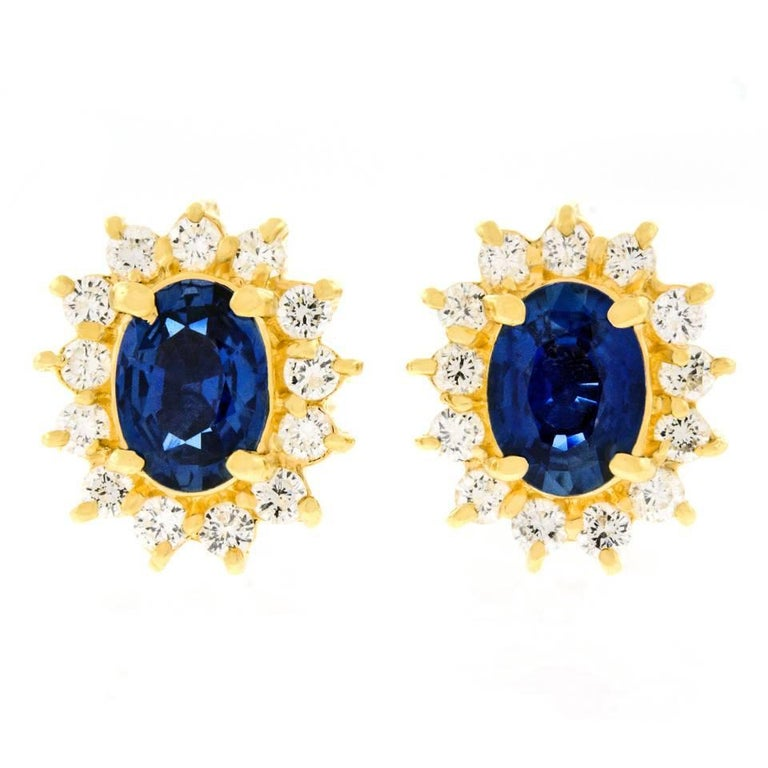 Classic Sapphire and Diamond Set Gold Earrings