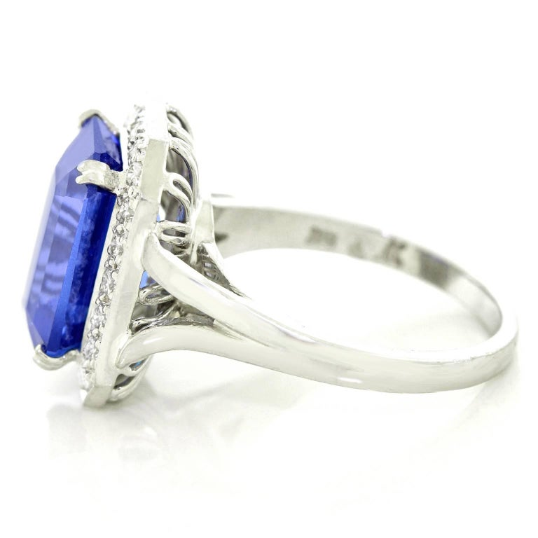 Gorgeous 7.0 Carat Tanzanite Diamond and White Gold Ring For Sale 3