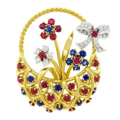 Tiffany & Co. Basket of Flowers Gold Brooch