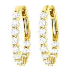 Diamond Set Gold Hoop Earrings