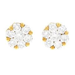 Diamond Set Gold Stud Earrings