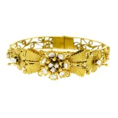Spectacular Antique Peranakan Diamond Set Gold Bangle Bracelet