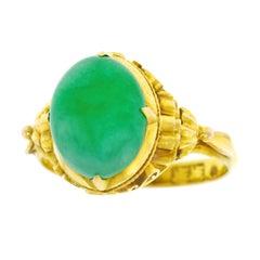 Antique Peranakan Jade Set Gold Ring