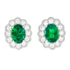 Classic Diamond and Emerald Set Earrings