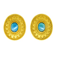 Maija Neimanis Archaic Motif Tourmaline Set Gold Earrings