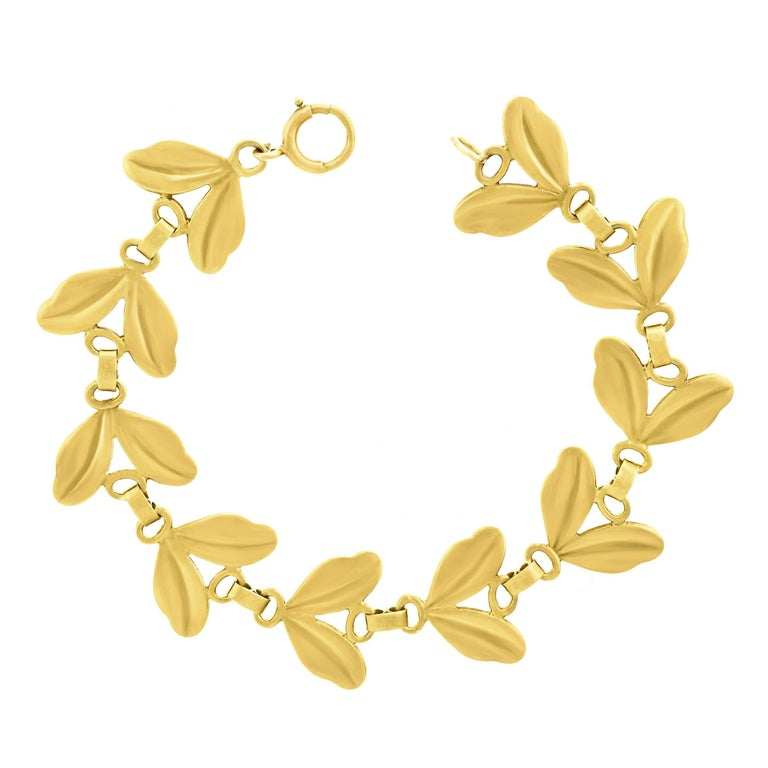 Tiffany & Co. 1950s Leaf Motif Gold Bracelet
