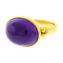 Archaic Motif Amethyst Set High Karat Gold Ring