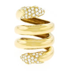 Christian Dior 1960s Diamond Set Gold Snake Ring