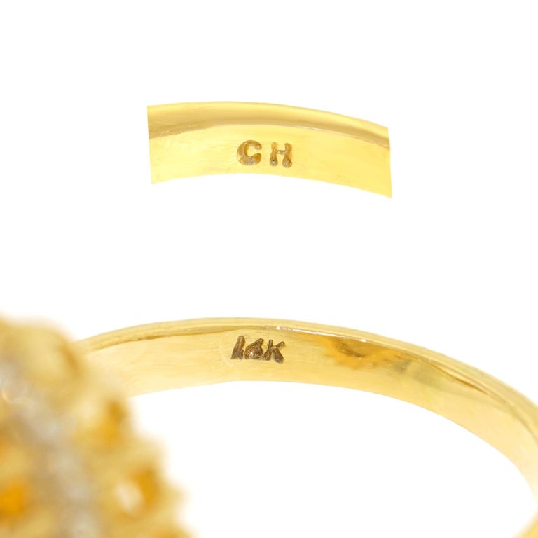 1960s Natural Golden Topaz and Diamond Set Gold Ring 5
