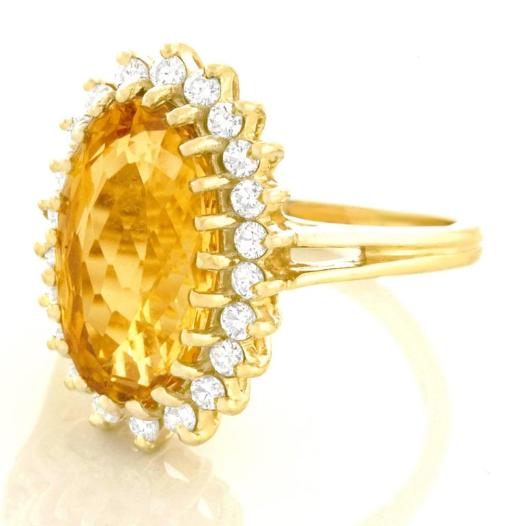 1960s Natural Golden Topaz and Diamond Set Gold Ring 3