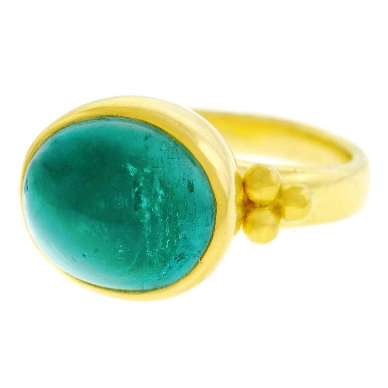 Maija Neimanis Blue Green Tourmaline Cabochon Ring For Sale