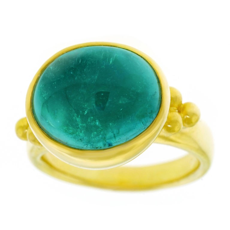 Maija Neimanis Blue Green Tourmaline Cabochon Ring In Excellent Condition For Sale In Litchfield, CT