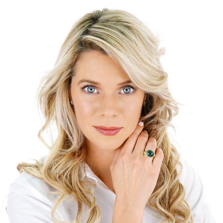 Maija Neimanis Blue Green Tourmaline Cabochon Ring For Sale 4