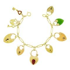 Antique Heart Locks and Keys Gold Charm Bracelet