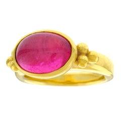Maija Neimanis Ancient Roman Motif Pink Tourmaline Set Gold Ring