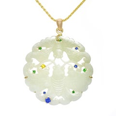Jade Set with Sapphire and Emerald Gold Pendant