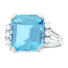 1950s Aquamarine and Diamond Set Gold Ring