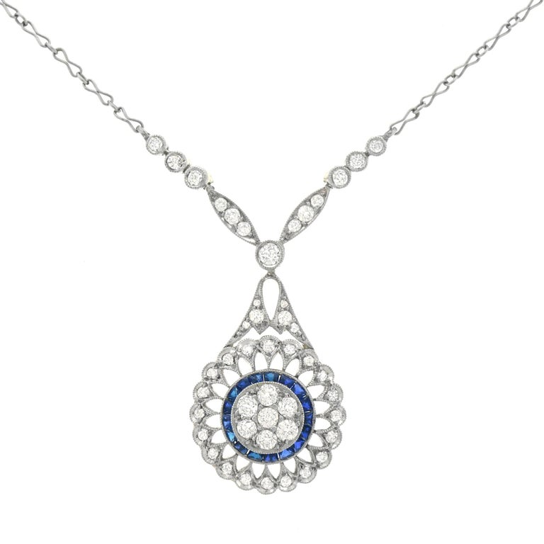 Art Deco Diamond and Sapphire Set Platinum over Gold Pendant Necklace, French