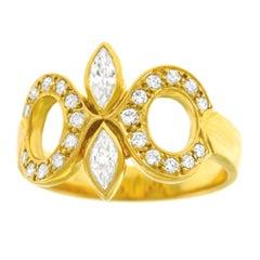 Diamond Set Gold Fleur-de-lis Ring