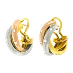 Cartier Diamond Set Gold Trinity Earrings
