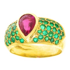 London Chic Tourmaline and Emerald Set Gold Ring