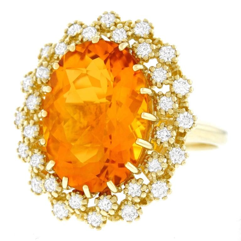 Mandarin Citrine and Diamond Set Gold Ring