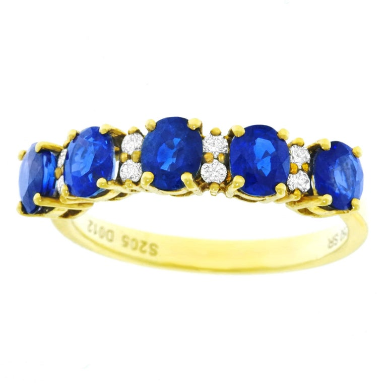 Sapphire and Diamond Set Gold Band For Sale