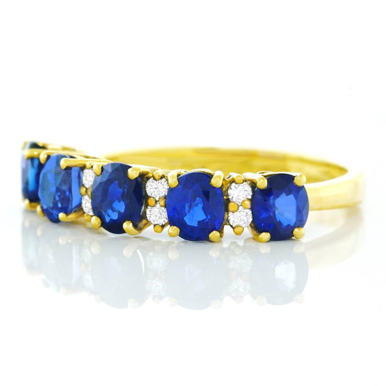 Sapphire and Diamond Set Gold Band In Excellent Condition For Sale In Litchfield, CT