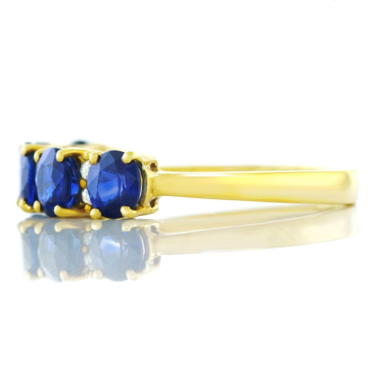 Sapphire and Diamond Set Gold Band For Sale 3