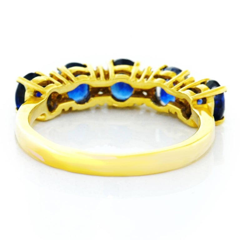 Sapphire and Diamond Set Gold Band For Sale 4