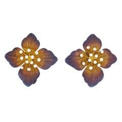 Diamond Set Gold Flower Earrings