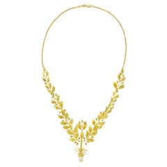 Art Deco Acorn and Oak Leaf Gold Necklace