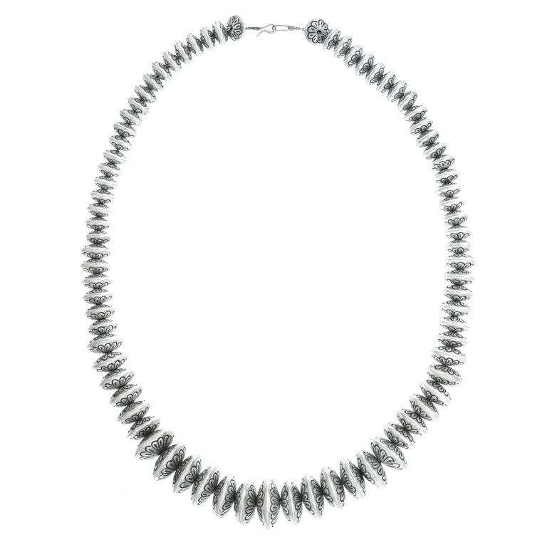 Navajo Sterling Silver Bead Necklace