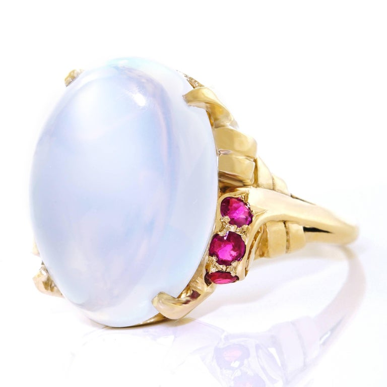 15.67 Carat Moonstone and Ruby Set Gold Ring In Excellent Condition For Sale In Litchfield, CT